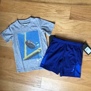 NWT Nike Cotton Tee And Blue Shorts 🏈